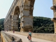 Cycling over the Pont du Gard