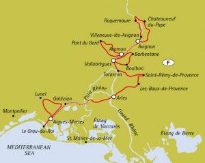 Avignon to Aigues-Mortes - Tour Map