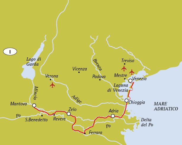 Mantua to Venice - Tour Map
